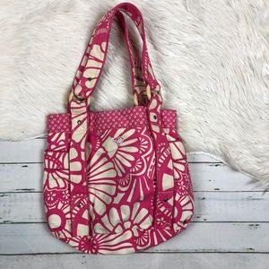 Roxy pink white beach tote bag